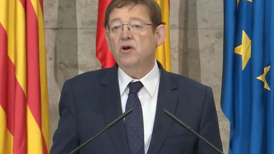 El presidente valenciano Ximo Puig durante la rueda de prensa.