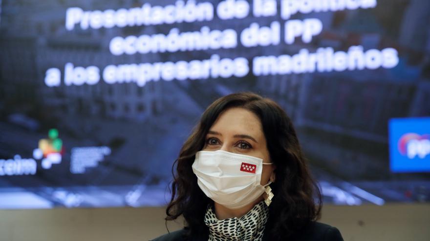 La presidenta de la Comunidad de Madrid, Isabel Díaz Ayuso, durante la presentación del programa económico del PP para las elecciones de la Comunidad.