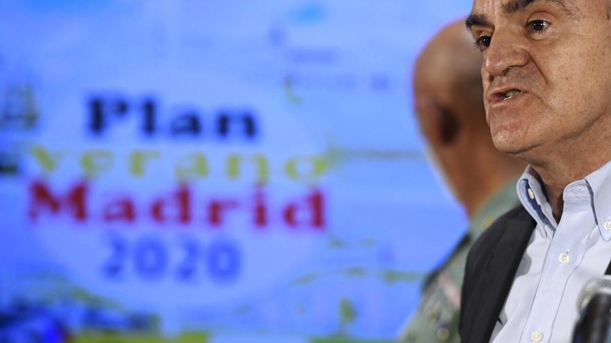 """El delegado del Gobierno en Madrid, José Manuel Franco, interviene en la presentación del """"Plan Verano Madrid 2020"""" en materia de seguridad ciudadana, en Madrid (España), a 8 de julio de 2020."""