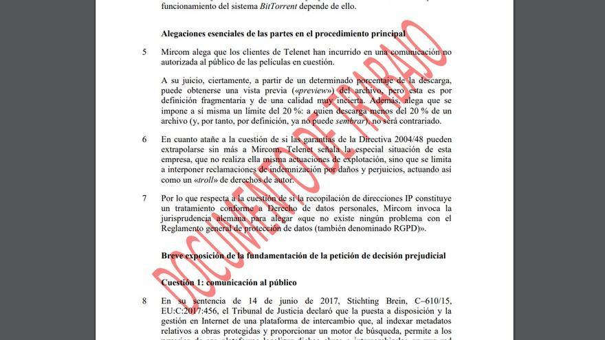 Cuestión prejudicial enviada por el juzgado belga al TJUE en el que pide al tribunal que se posicione en el caso de las cartas que exigen una indemnización por infracción del copyright.