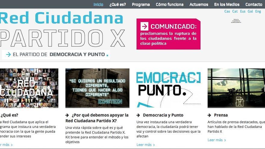Captura de pantalla de la nueva web de la Red Ciudadana Partido X