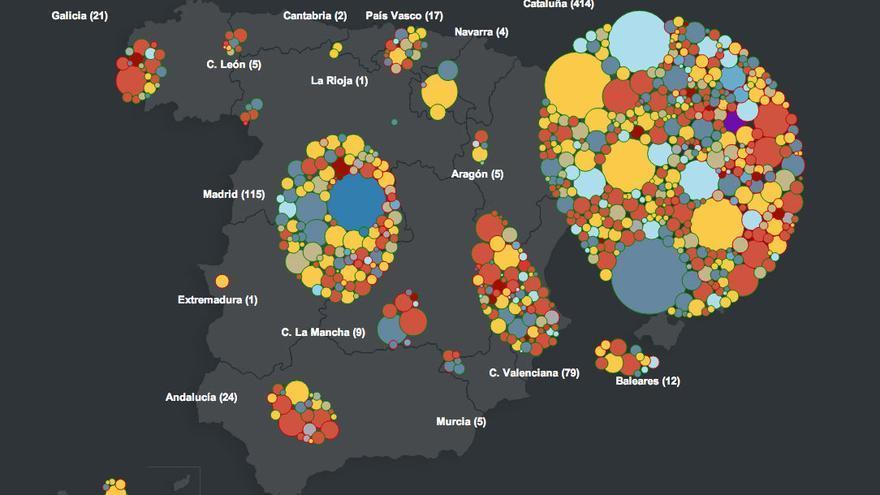 Captura de pantalla de la visualización interactiva de RTVE-Labs sobre los proyectos cofinanciados en Verkami