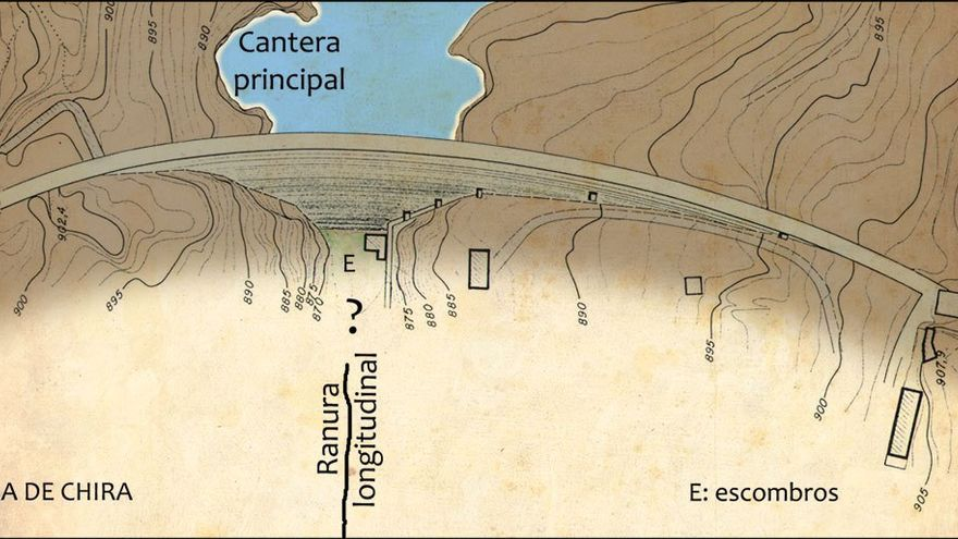 Plano de la presa de Chira y su ranura longitudinal.