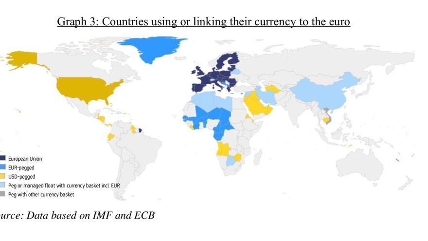 Countries using or linking their currency to the euro