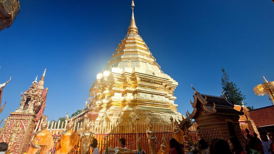 Estupa dorada en Wat Doi Suthep, uno de los templos más destacados de Tailandia. Andrea Schaffer