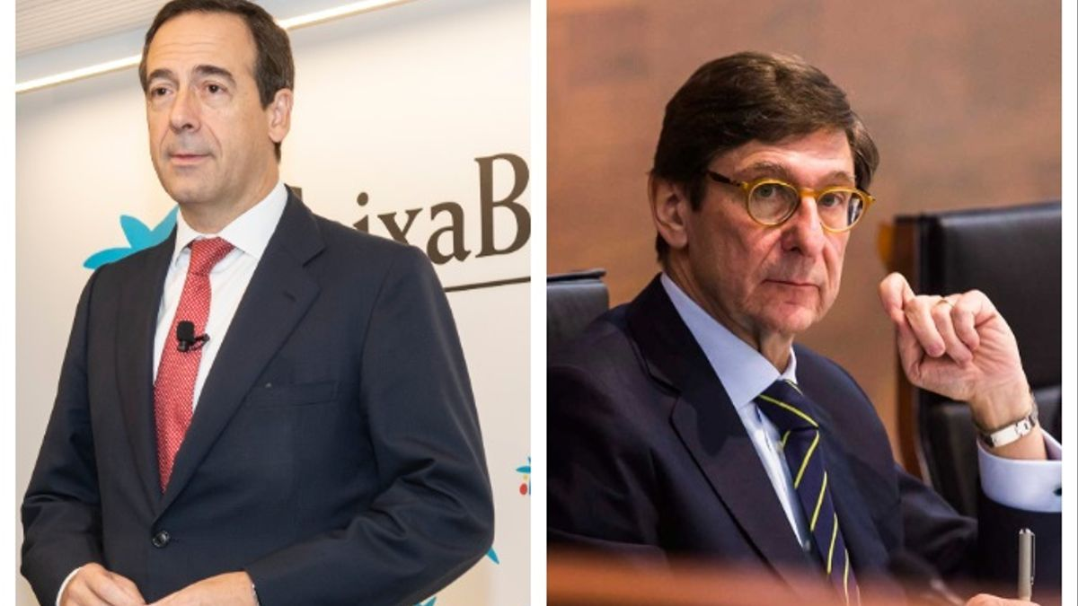 Gonzalo Gortázar, consejero delegado de CaixaBank (izq), y José Ignacio Goirigolzarri, presidente de Bankia (der).
