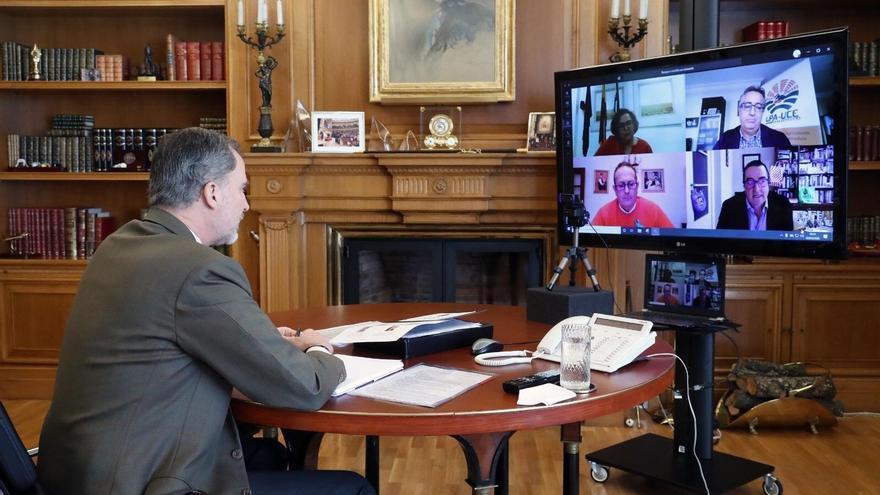 El Rey durante la videoconferencia.