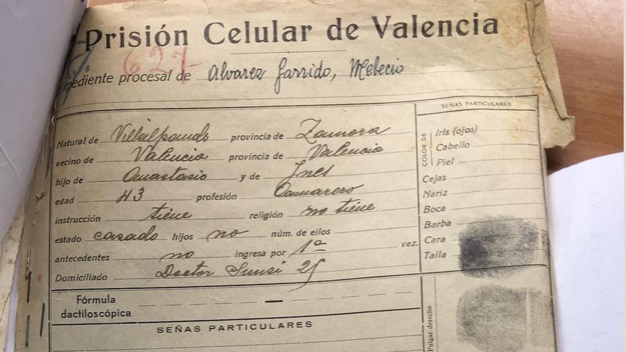 Expediente penitenciario de Melecio Álvarez Garrido