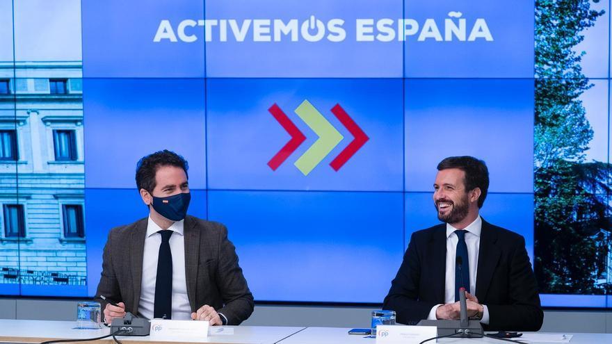 El presidente del PP, Pablo Casado, y el secretario general del PP, Teodoro García Egea. En Madrid. A 23 de noviembre de 2020.
