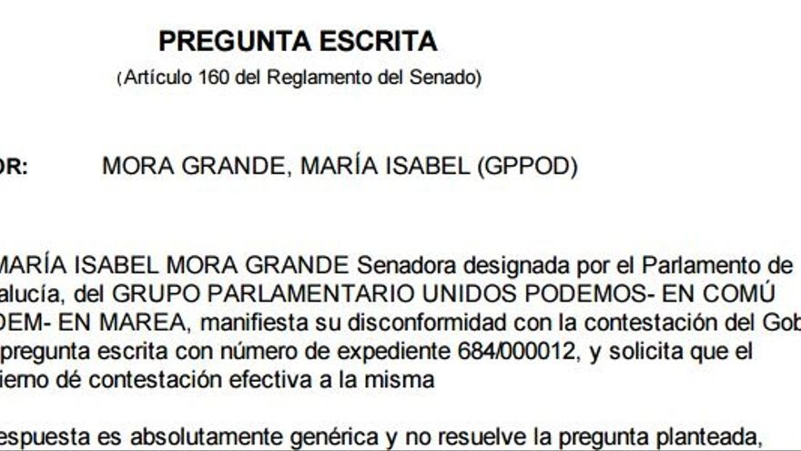 Escrito de disconformidad de la senadora Maribel Mora con una respuesta del Gobierno