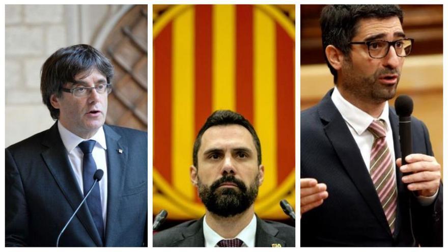 El ex president de la Generalitat, Carles Puigdemont, el president del Parlament de Catalunya, Roger Torrent, y el conseller de Políticas Digitales y Administraciones Públicas de la Generalitat, Jordi Puigneró