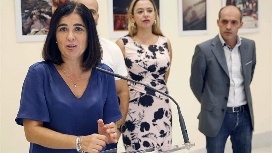 Carolina Darias, presidenta del Parlamento regional, en el acto de este lunes