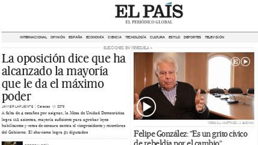 Noticias sobre Venezuela en la página web de El País