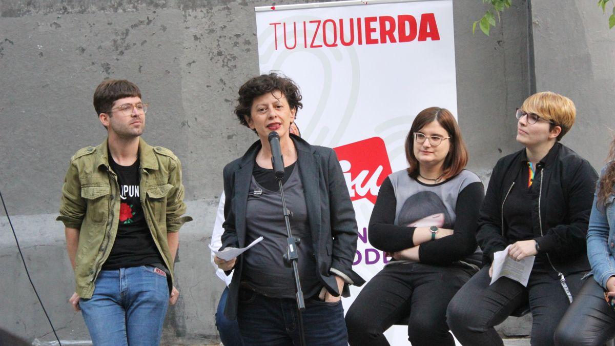 Fefa Vila, candidata a la alcaldía de Madrid, en el acto electoral de IU-Unidas Podemos en la Plazuela de la Memoria Trans | SOMOS CHUECA