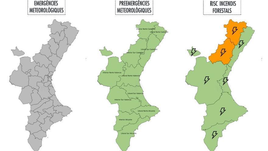 Mapa d'alertes del servei 112 a la Comunitat Valenciana este divendres 7 de juliol