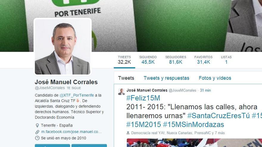 Pantallazo de la cuenta de Twitter de José Manuel Corrales.