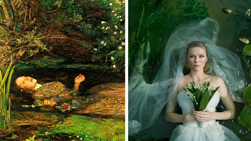 Ophellia, de John Everett Millais, y fotograma de Melancolía, de Lars Von Trier