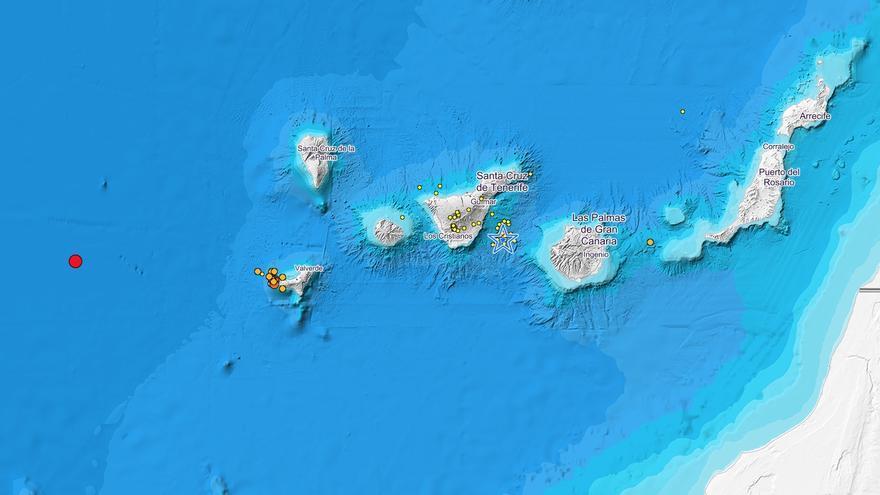 Mapa de Canarias con los terremotos registrados en el mes de septiembre