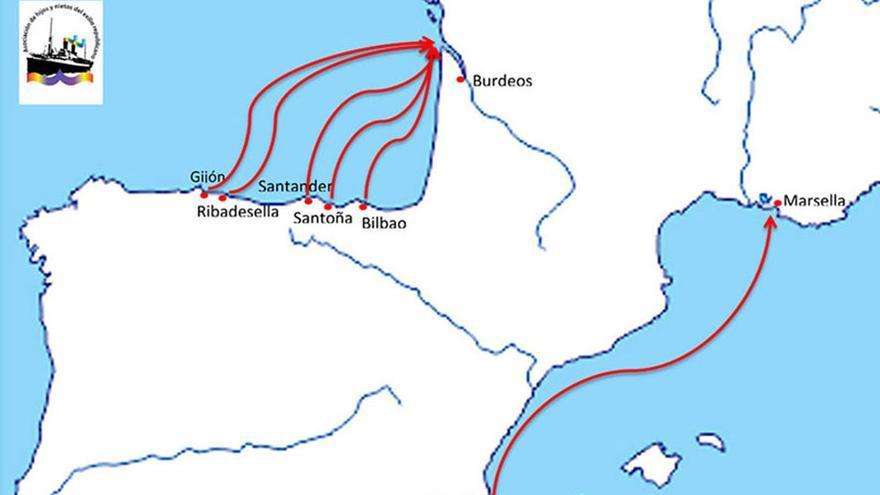 Rutas marítimas del exilio republicano hacia Francia en 1937. | BARCOS DEL EXILIO REPUBLICANO ESPAÑOL