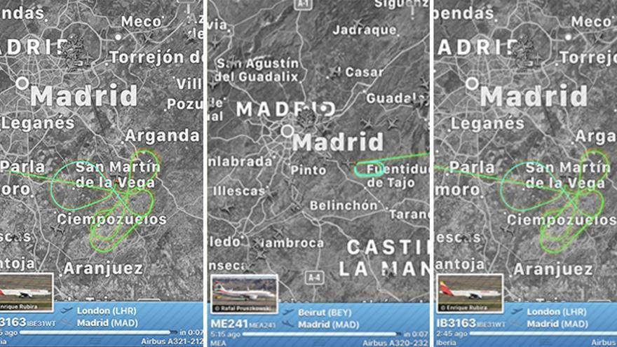 Detalle de las maniobras en círculo que han efectuado algunos de los aviones que se dirigían a Barajas en el momento del cierre del espacio aéreo del aeropuerto. Se ha habilitado una de las pistas para que las aeronaves que no tienen combustible para ser redirigidas a otros aeropuertos aterricen.