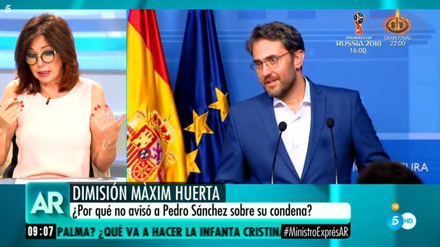 El programa de Ana Rosa aborda la reciente dimisión de Màxim Huerta como Ministro de Cultura y Deporte
