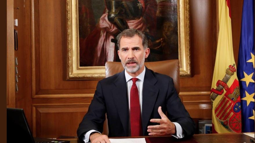 El rey Felipe VI, durante el discurso tras el 1-O. Foto: Casa Real