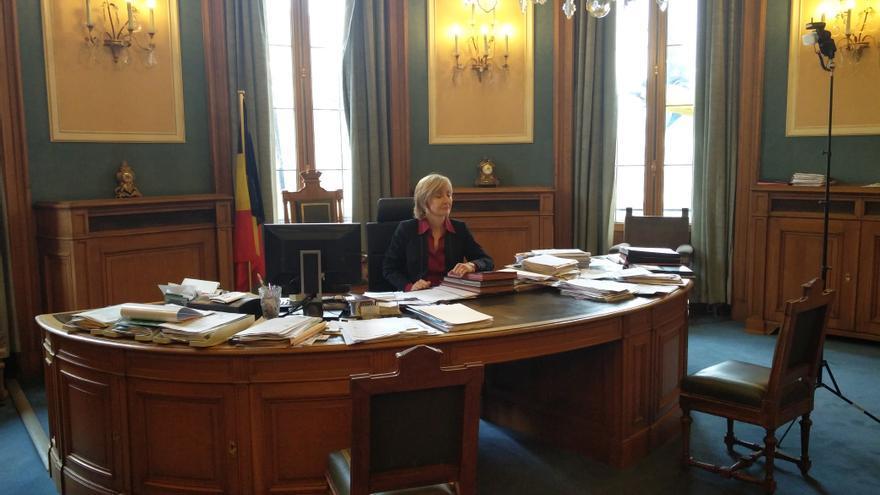 La alcaldesa de la comuna de Moleenbek, Françoise Schepmans