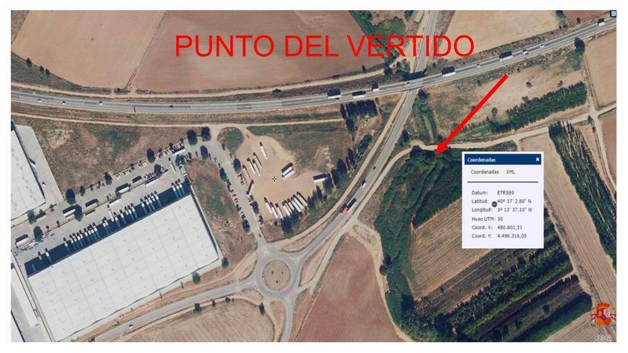 Plano de situación del vertido en Cabanillas del Campo