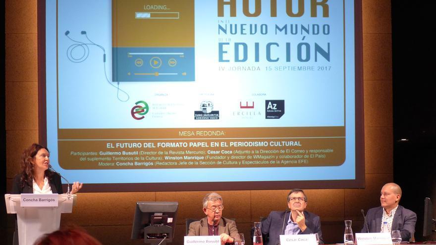Periodismo cultural. Concha Barrigós (EFE), Guillermo Busútil (Mercurio), César Coca (El Correo) y Winston Manrique (WMagazín).