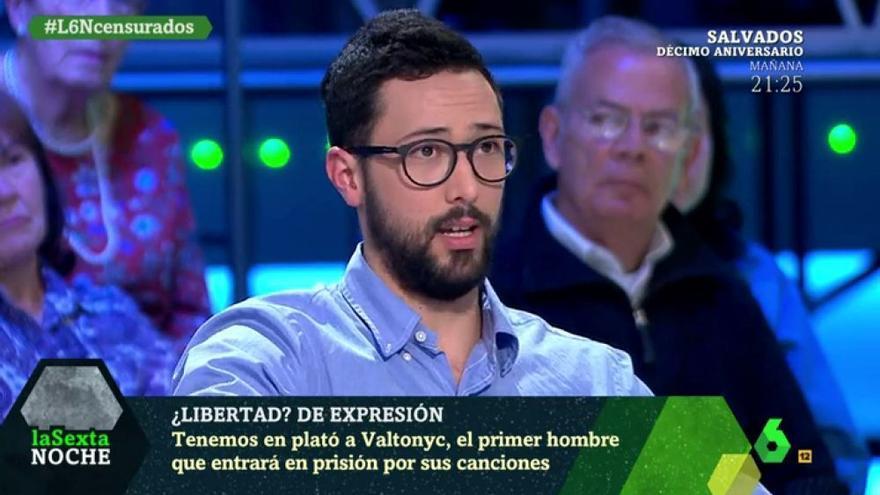 El rapero Valtonyc en laSexta Noche