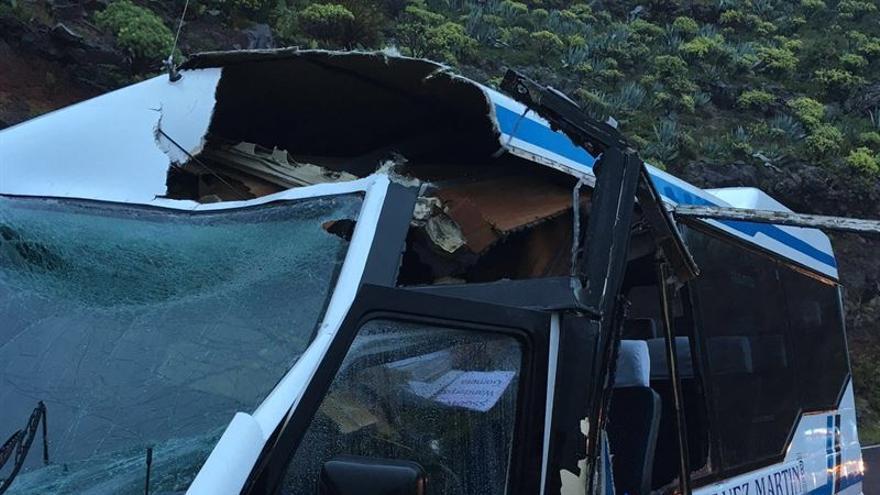 Accidente de una guagua en Valle Gran Rey.