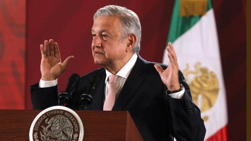 El presidente de México, Andrés Manuel López Obrador, habla durante su conferencia de prensa matutina en Palacio Nacional, en Ciudad de México (México).