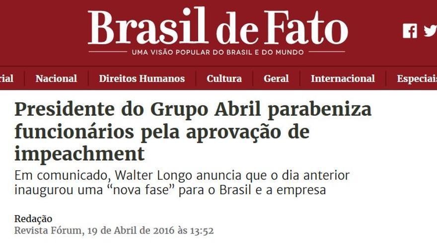 """Presidente do Grupo Abril parabeniza funcionários pela aprovaçao de impeachment"", en Brasil de Fato"