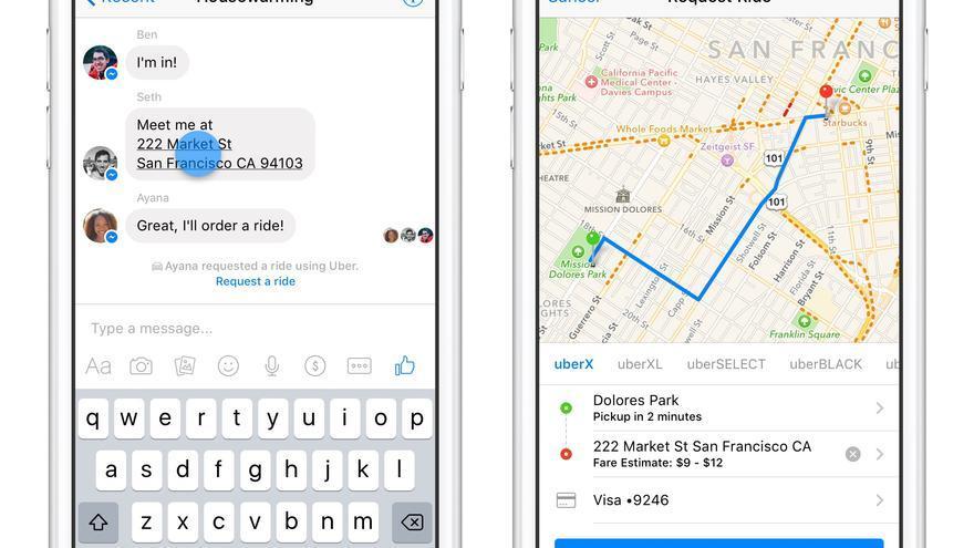 En Estados Unidos, es posible pedir un taxi en Uber a través de Facebook Messenger