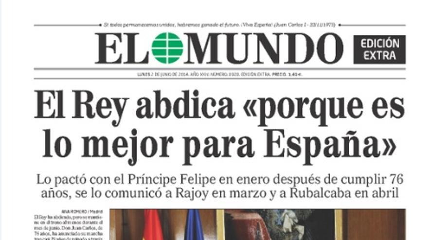 Edición especial de El Mundo ante la abdicación del rey don Juan Carlos