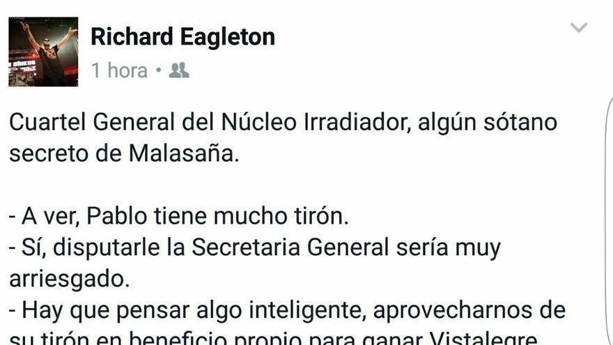 Facebook de Nega sobre el cartón de Pablo Iglesias.