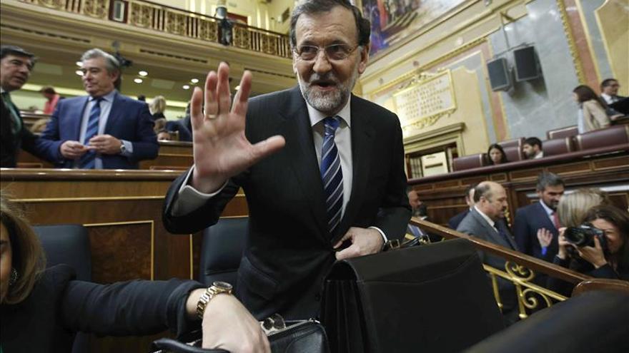 Rajoy, antes del comienzo del debate.