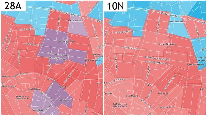 Comparativa del partido más votado por manzanas en las elecciones generales del 28A, comparado con el que tuvo más apoyos en 10N | ELDIARIO.ES