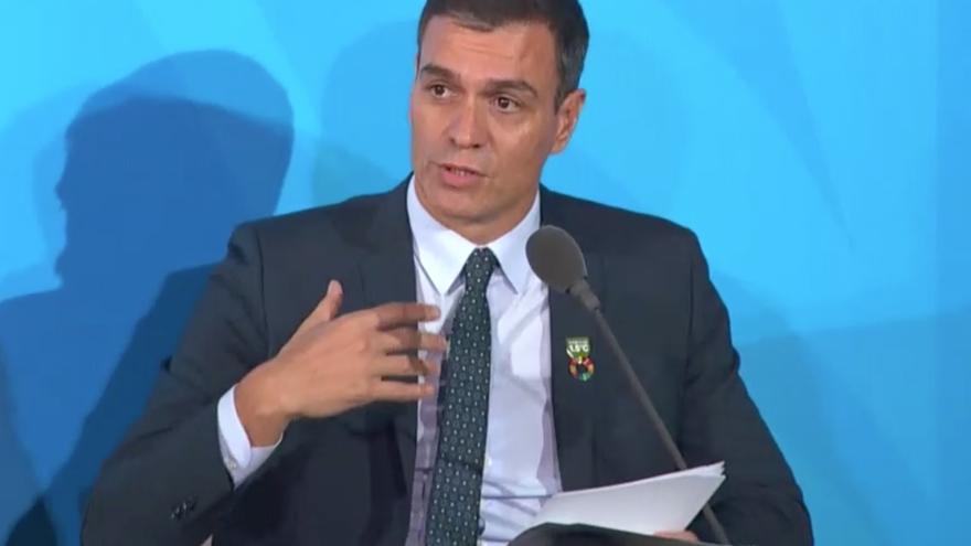 Pedro Sánchez, en la Cumbre del Clima de Nueva York 2019.