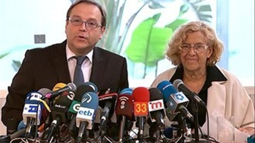 Telemadrid ningunea la rueda de prensa de Carmena y Carmona