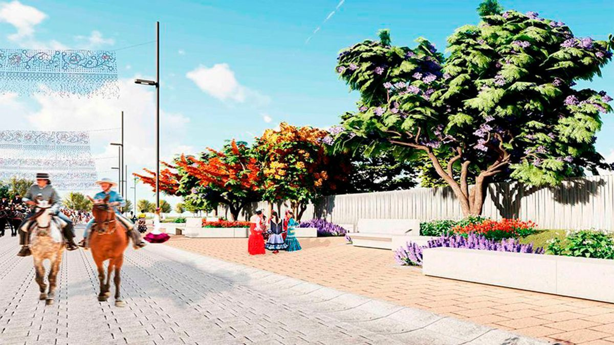 Infografía de la remodelación de la calle Potro en el recinto ferial de El Arenal.