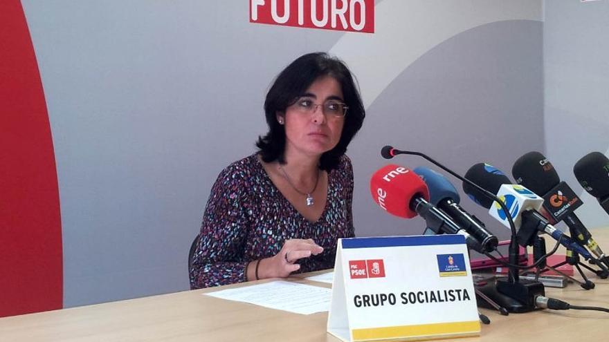 La portavoz socialista en el Cabildo de Gran Canaria, Carolina Darias, durante la rueda de prensa que ofreció este martes para valorar la postura de su partido ante los últimos acontecimientos relacionados con Infecar.