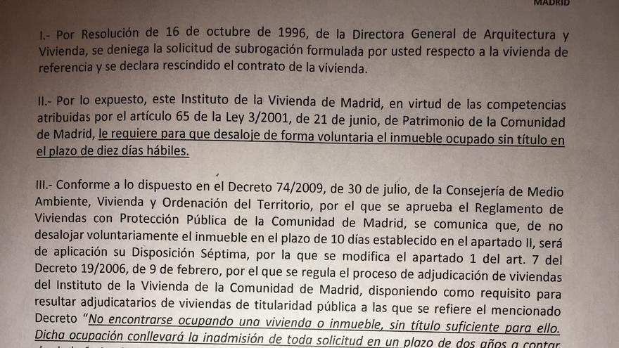 Notificación de la Agencia de la Vivienda Social de Madrid en junio de 2015.