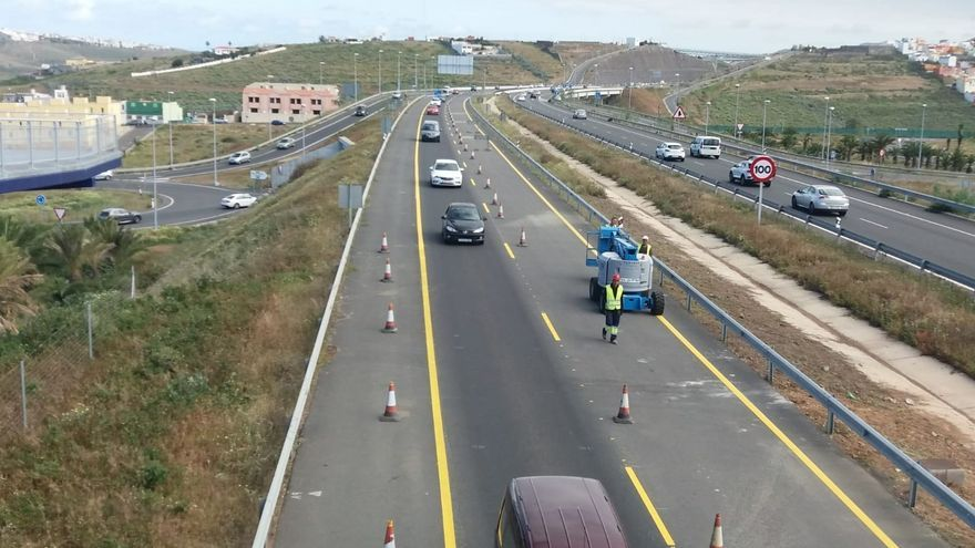 La carretera GC-3 tiene desde este jueves un carril más abierto en dirección al norte de Gran Canaria