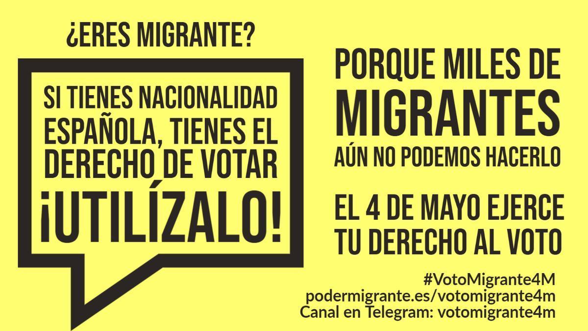 Cartel de Poder Migrante llamando al voto