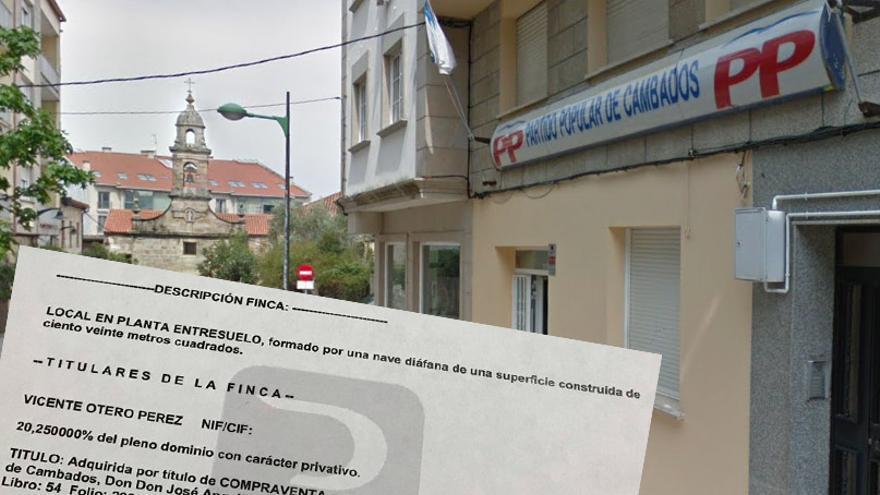 Registro de la propiedad con el nombre de Vicente Otero, Terito, y sede del PP en Cambados (Pontevedra)