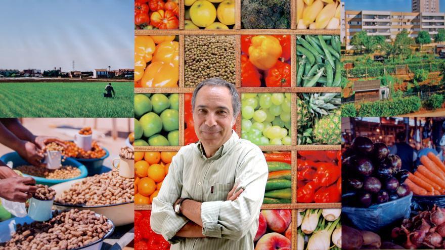 Vicente Domingo, director del CEMAS, junto a imágenes de alimentos que componen la dieta mediterránea
