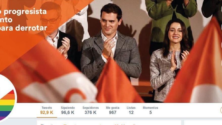 Página principal de la cuenta de Twitter de Ciudadanos.