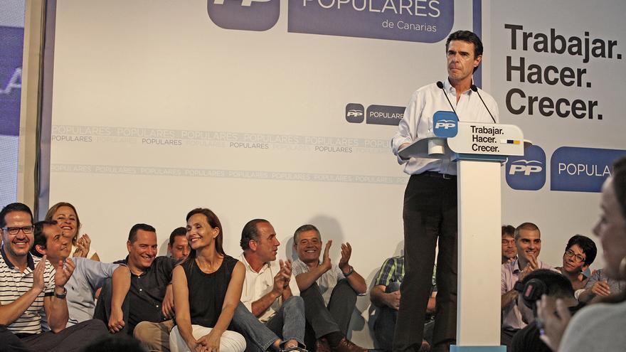 José Manuel Soria en su intervención en el mitin del Partido Popular en Infecar (ALEJANDRO RAMOS)