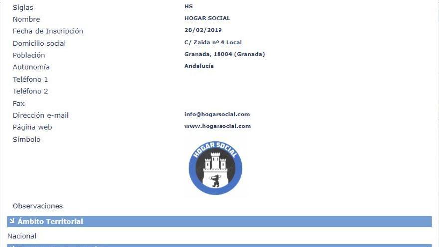 Ficha de inscripción de Hogar Social como partido político ante el Ministerio del Interior.